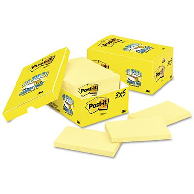 Post-it® Cabinet Pack, 3 x 5, Canary Yellow, 18 90-Sheet Pads/pack