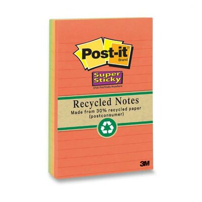 "Post-it® Super Sticky Notes, Recycled, 4""x6"", 4 per Pack, Nature Colors"