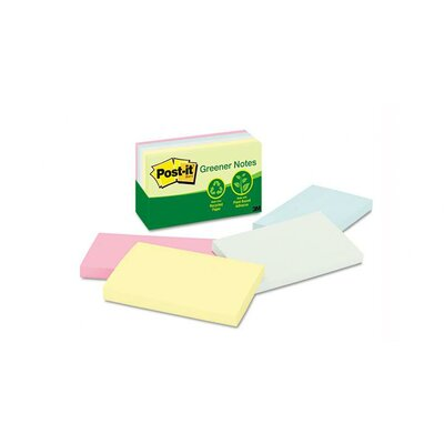 Post-it® Recycled Pastel Notes, 3 x 5, Four Colors, Five 100-Sheet Pads/pack