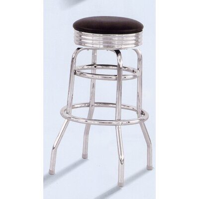 "Alston Retro Chrome Circle 30"" H Backless Bar Stool"