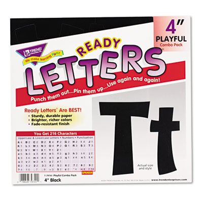 "TREND ARGUS Ready Letters Playful Combo Set, Black, 4""h, 216/Set"