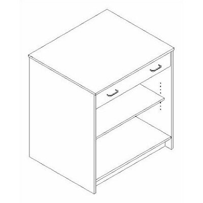 Fleetwood Library Modular Front Desk System - Open Storage Unit with Drawer