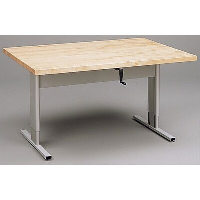 Fleetwood Adjustable Craft Table with Solid Maple Top and Hand Crank