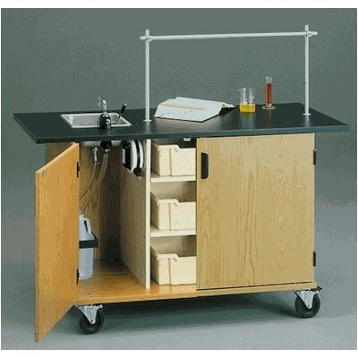 "Fleetwood 60"" W Mobile Science Lab Station with Black HPL Top and Tray Storage"