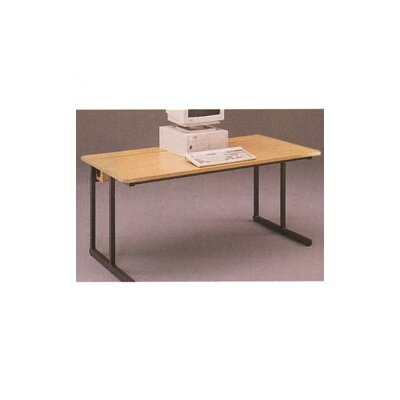 Fleetwood C-Leg Wide Adjustable Height Computer Table with Flip Top Wire Management