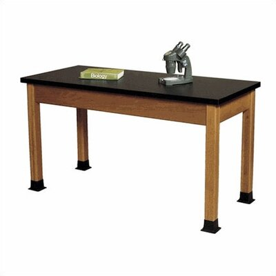 Fleetwood Wood Science Table with Black Epoxy Resin Top and Optional Rubber Boots