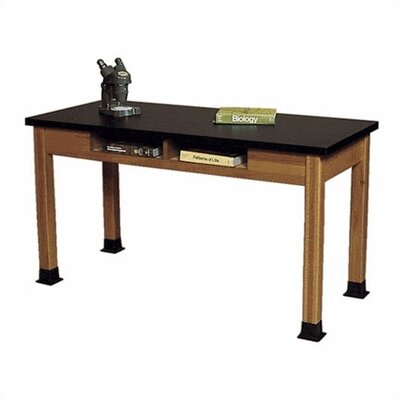 Fleetwood Wood Science Table with Book Storage and Black HPL Top