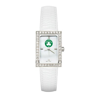 LogoArt® NBA Ladies Fashion Watch with White Leather Strap
