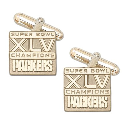 LogoArt® XLV Super Bowl Championship Packers Cuff Links in 10k Gold
