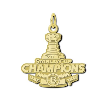 LogoArt® NHL Boston Bruins Stanley Cup Champions Charm in 10K Gold