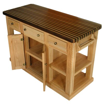 Bradley Brand Furniture Cossatot Kitchen Island with Butch Block Top