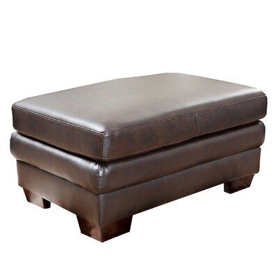 Preston Leather Ottoman in Dark Brown