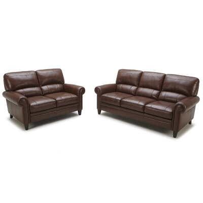 Abbyson Living Camden Leather Sofa and Loveseat Set