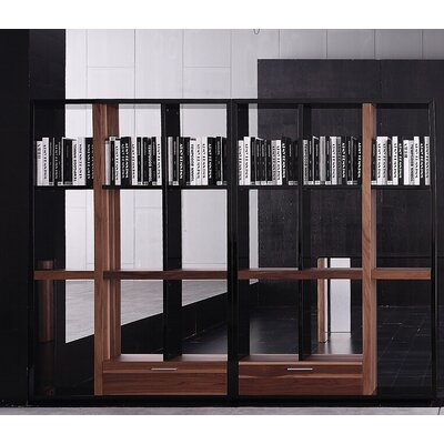 Bellini Modern Living Quaderna Open Bookcase in Walnut and Black High Gloss