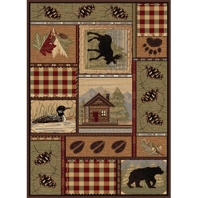 Nature Lodge Motif Novelty Rug