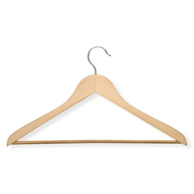 Basic Suit Hanger with Non Slip Bar in Maple (8 Pack)