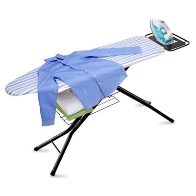 Honey Can Do Four Leg HD Ironing Board with Iron Rest in Black and Blue