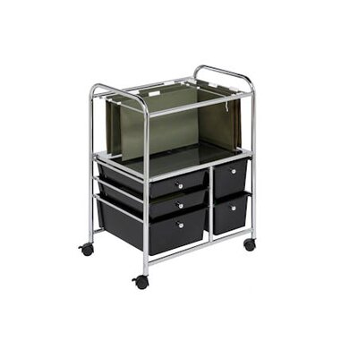 Honey Can Do 5 Drawer Hanging File Cart in Chrome/Black