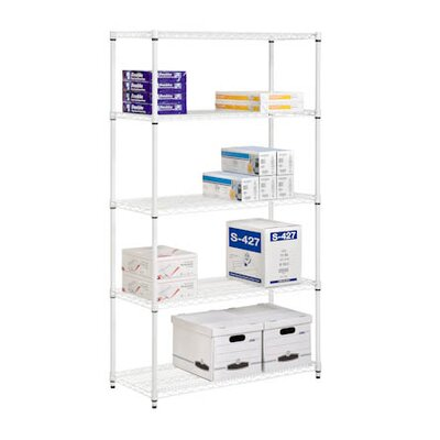 Five Tier Adjustable Storage Shelves in White