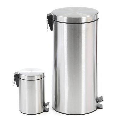 Honey Can Do 30-Liter Stainless Steel Step Trash Can