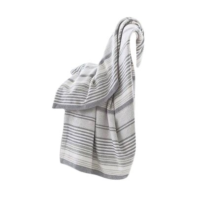 Dash and albert rugs gradation ticking cotton throw for Dash and albert blankets