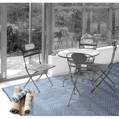 Dash and Albert Rugs Woven Diamond Denim/White Indoor/Outdoor Rug