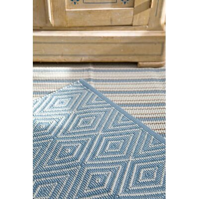 Dash and Albert Rugs Woven Diamond Slate/Light Blue Indoor/Outdoor Rug