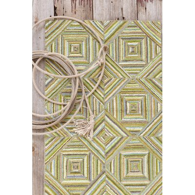 Dash and Albert Rugs Cotton Micro-Hooked Kaledo Green Rug