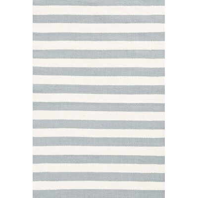Dash and Albert Rugs Indoor/Outdoor Trimaran Light Blue/Ivory Striped Rug