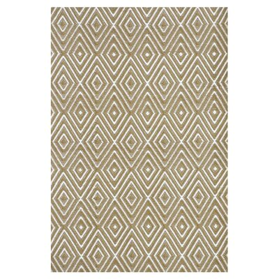 Dash and Albert Rugs Woven Diamond Khaki/White Indoor/Outdoor Rug