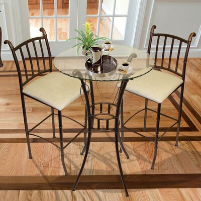 Hazelwood Home Italian 3 Piece Pub Table Set