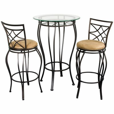 Hazelwood Home Three Piece Pub Table Set in Galaxy Bronze