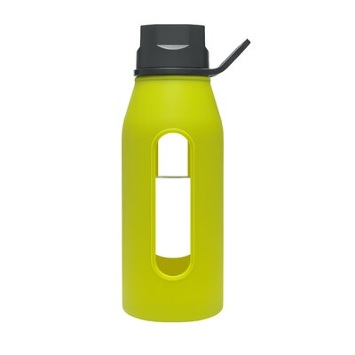 Takeya 16 Oz Classic Glass Water Bottle with Black Lid and Jacket in Green Apple ...