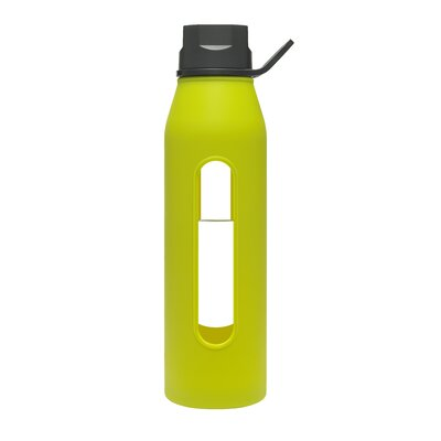 Takeya 22 Oz Classic Glass Water Bottle with Black Lid and Jacket in Green Apple ...