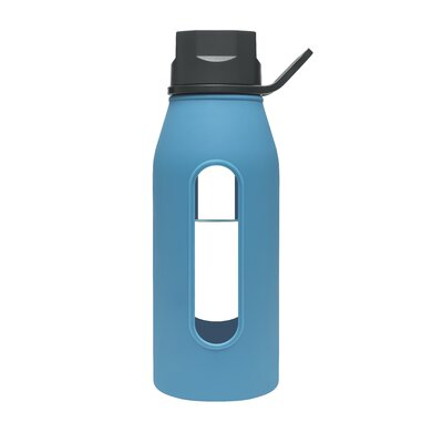 Takeya 16 Oz Classic Glass Water Bottle with Black Lid and Jacket in Cobalt