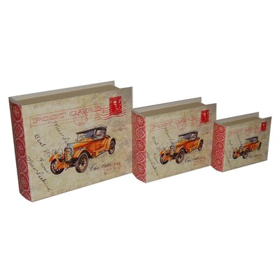 3 Piece Lined Keepsake Book Box with Carte Postal Design and Olde Time Car Set ...