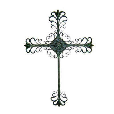 "Cheungs 21.25"" Tall Metal Cross Wall Art in Rustic Green"