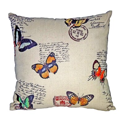 "Cheungs Rattan 18"" Square Pillow with Assorted Butterflies"