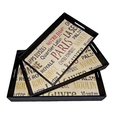 Cheungs Rectangular Tray with Parisian Typography (Set of 3)