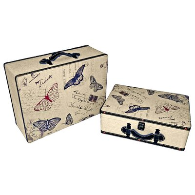 Cheungs Suitcase with Butterflies (Set of 2)