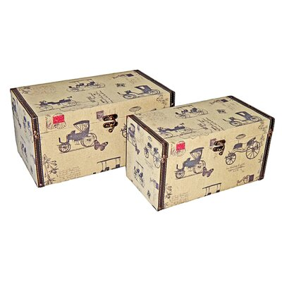 Rectangular Box with Carriage (Set of 2)
