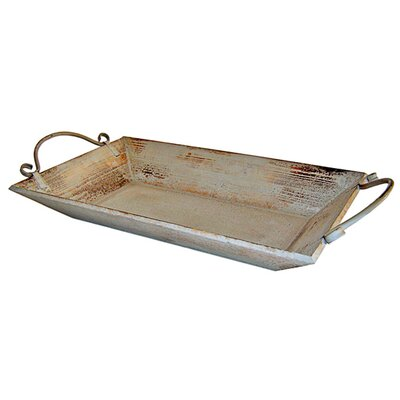 Shabby Elegance Wooden Tray with 2 Metal Handles