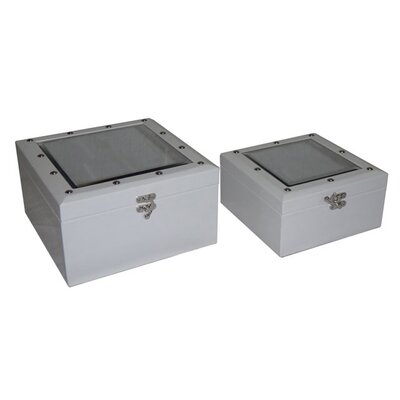Square Mirror Top Keepsake Box (Set of 2)