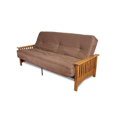 DHP Metal Futon with Oak Mission Wood Arms