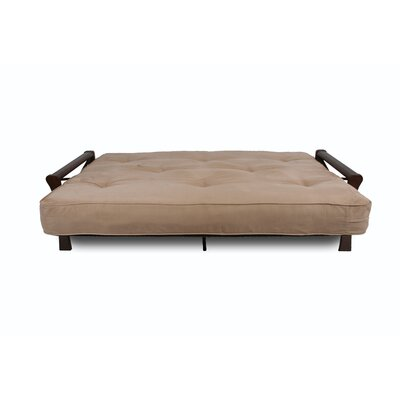 DHP Metal Futon with Cherry Finish X-Wood Arms