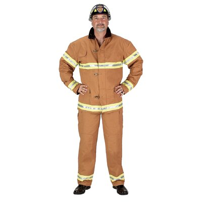 Aeromax Adult Fire Fighter Suit Costume in Tan