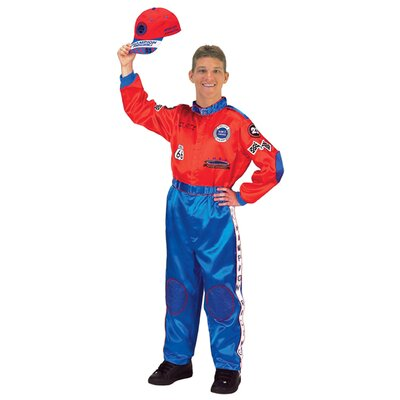 Adult Champion Racing Suit with Cap Costume in Red / Blue