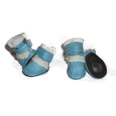 Pet Life Duggz Snuggly Shearling Dog Boots in Blue and White