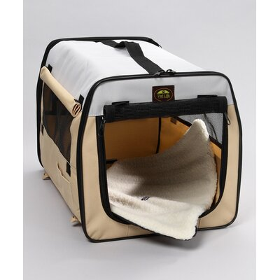 Pet Life Zippered Easy Carry Pet Carrier in Khaki and Grey