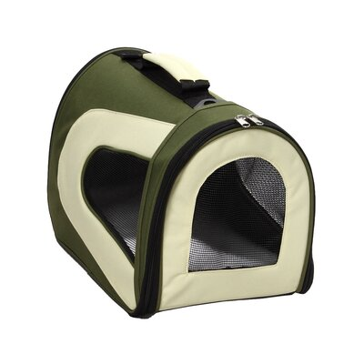 Zippered Sporty Mesh Pet Carrier in Green and Beige